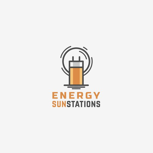 Logo for a battery powered by solar energy