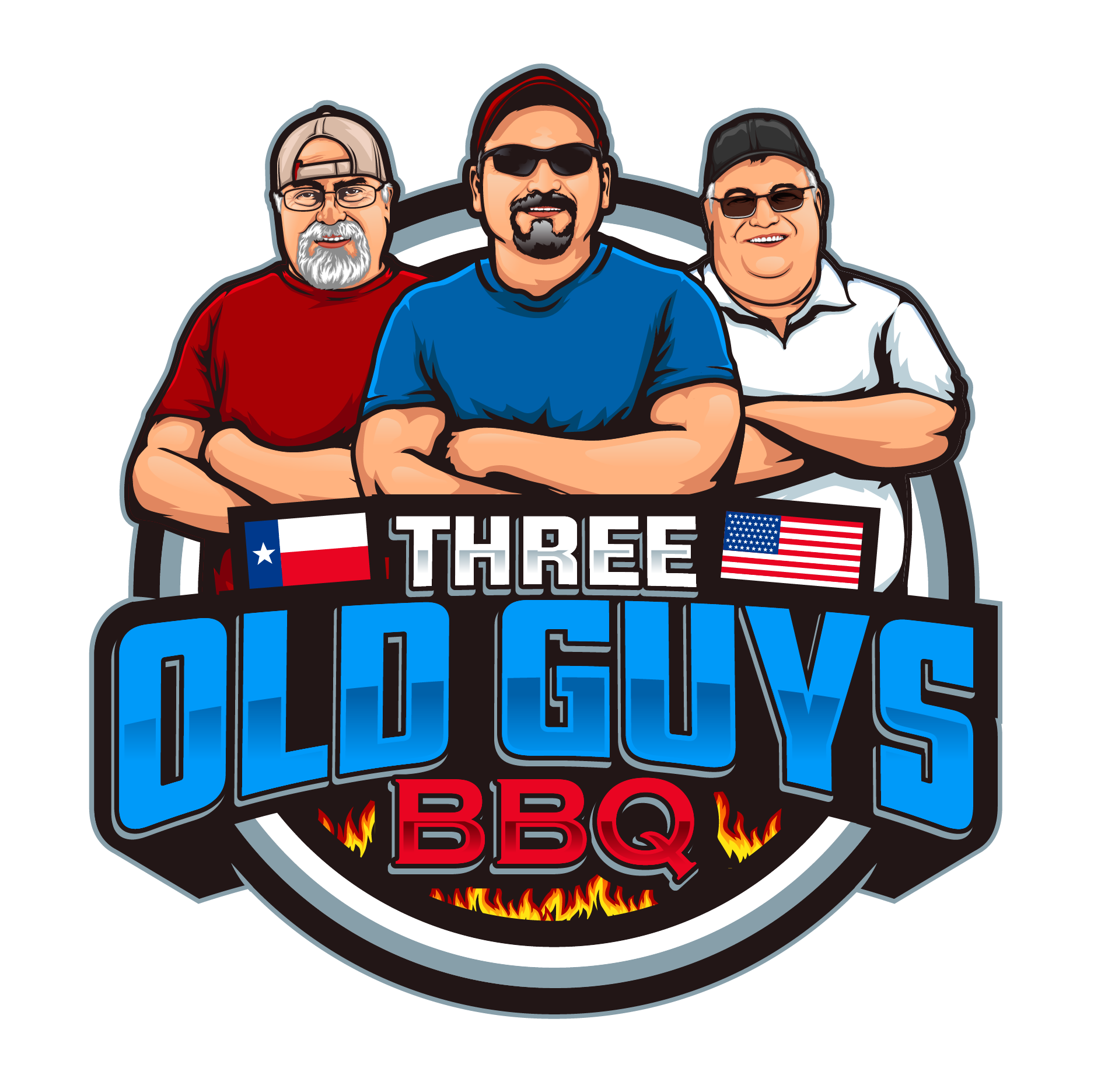 Design a caricature of 3 military vets that like to barbecue. Incorporate American flag please.