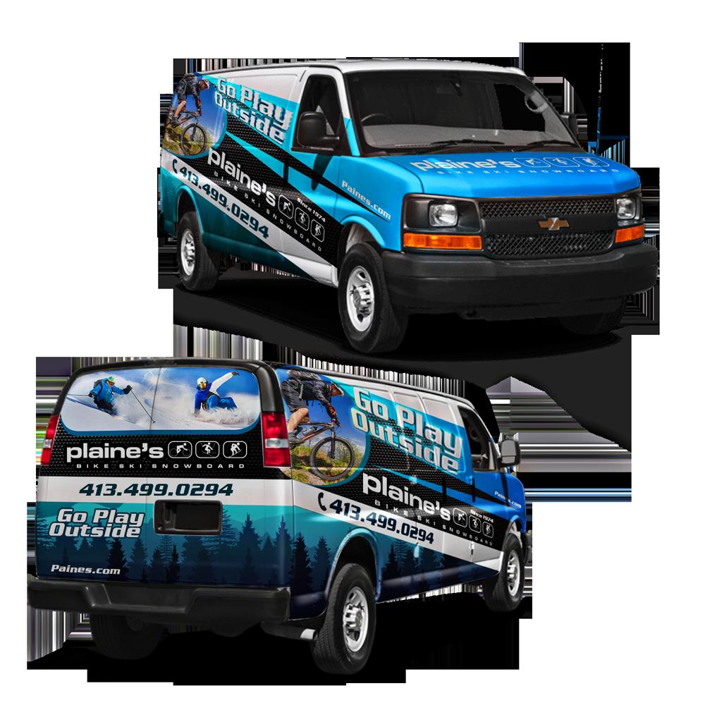Van wrap for outdoor sports store