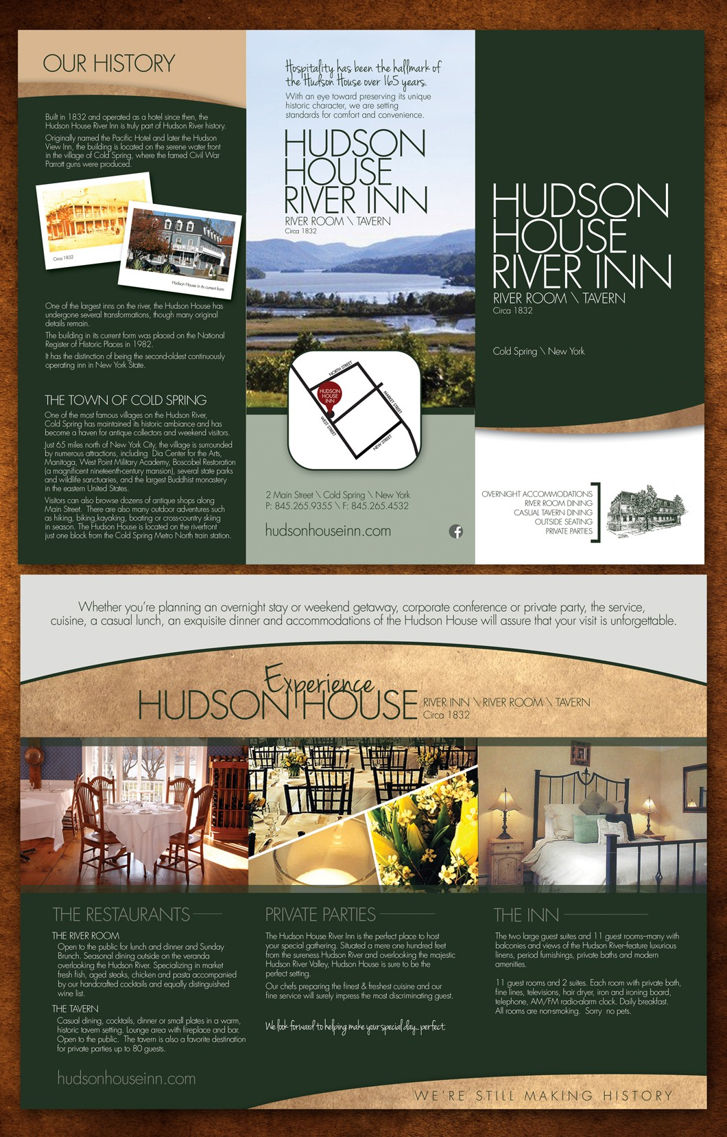 Brochure for Upscale Inn/Restaurant on the HUdson River in New York