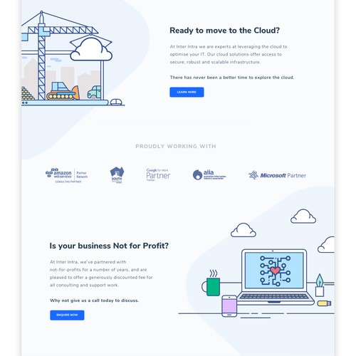 Bold & Minimal Landing page design for tech company