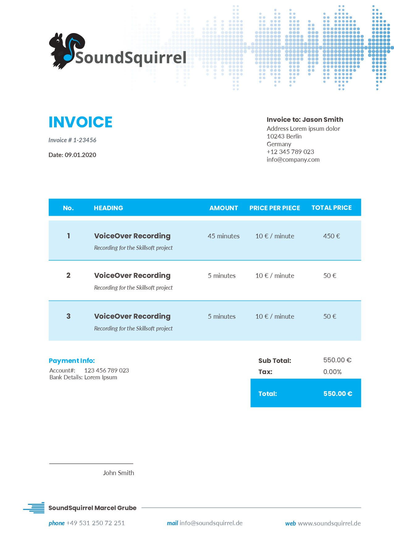 New invoice-design and letterhead for a German VoiceOver studio