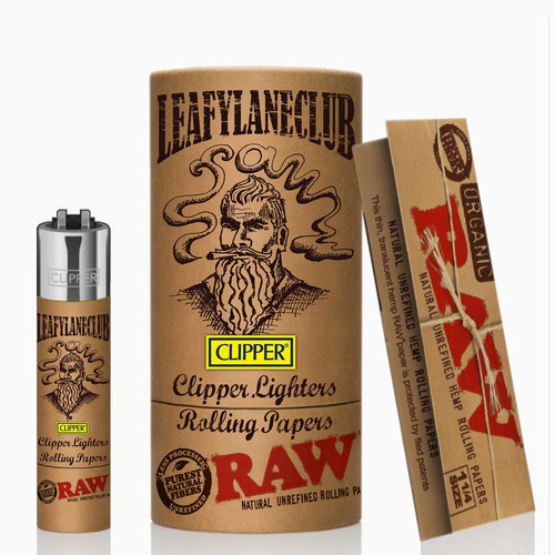 packaging design for Clipper lighters and Raw rolling papers