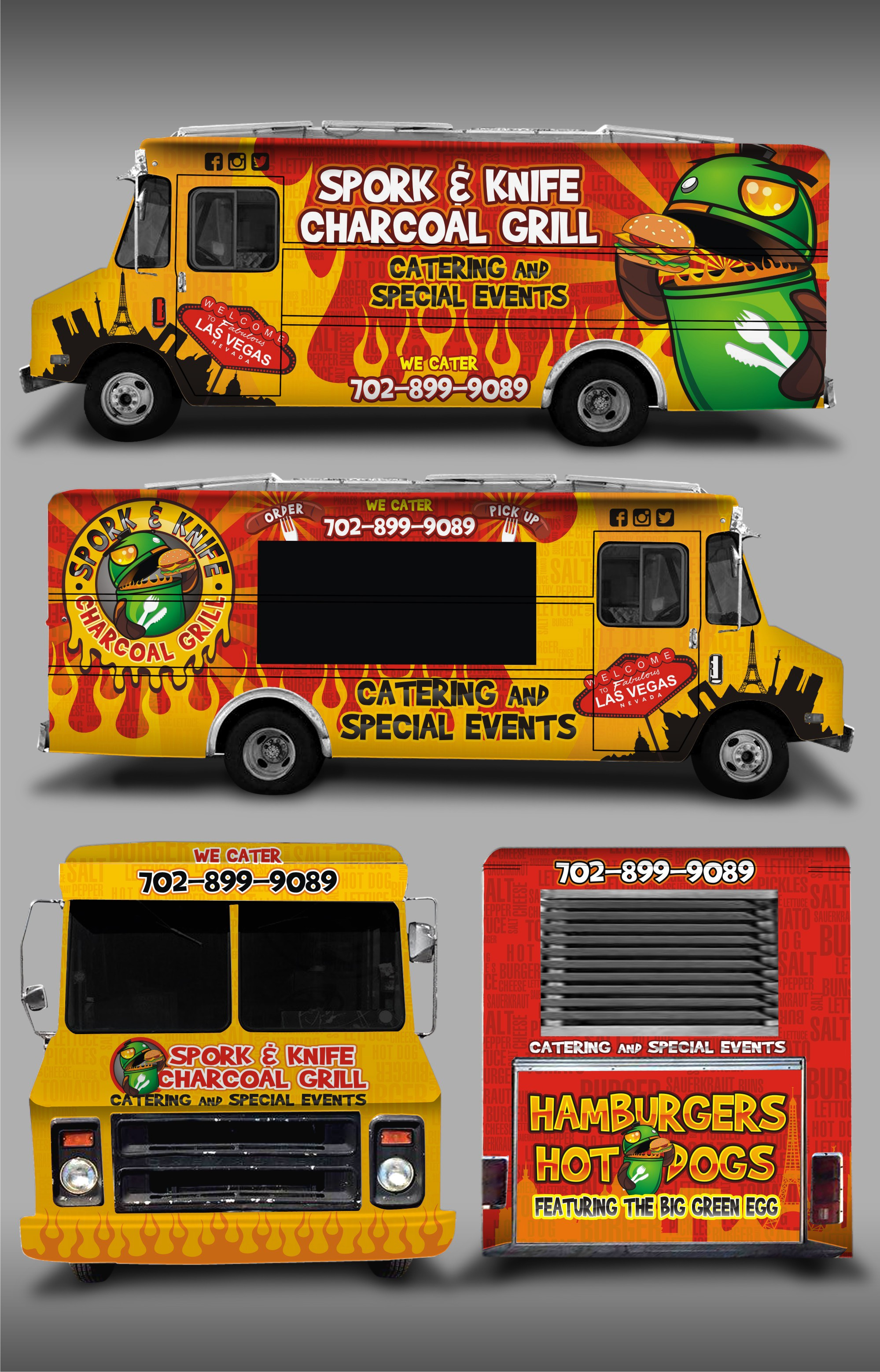 Create a food truck wrap for the Spork & Knife Charcoal Grill