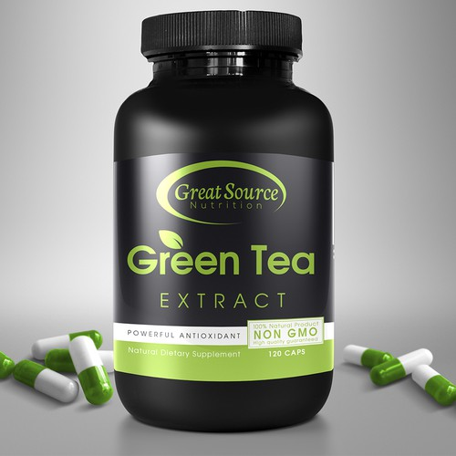 The development of labels for green tea extract capsules.