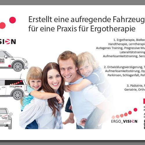 Erstellt eine aufregende Fahrzeugwerbung für eine Praxis für Ergotherapie