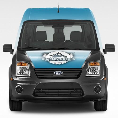 Vehicle Wrap Design for Charley's Decks.