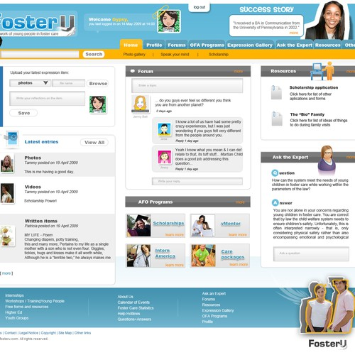 Web design for foster youth social networking site