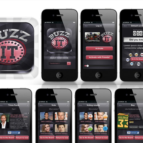 Create the next mobile app design for Buzz It