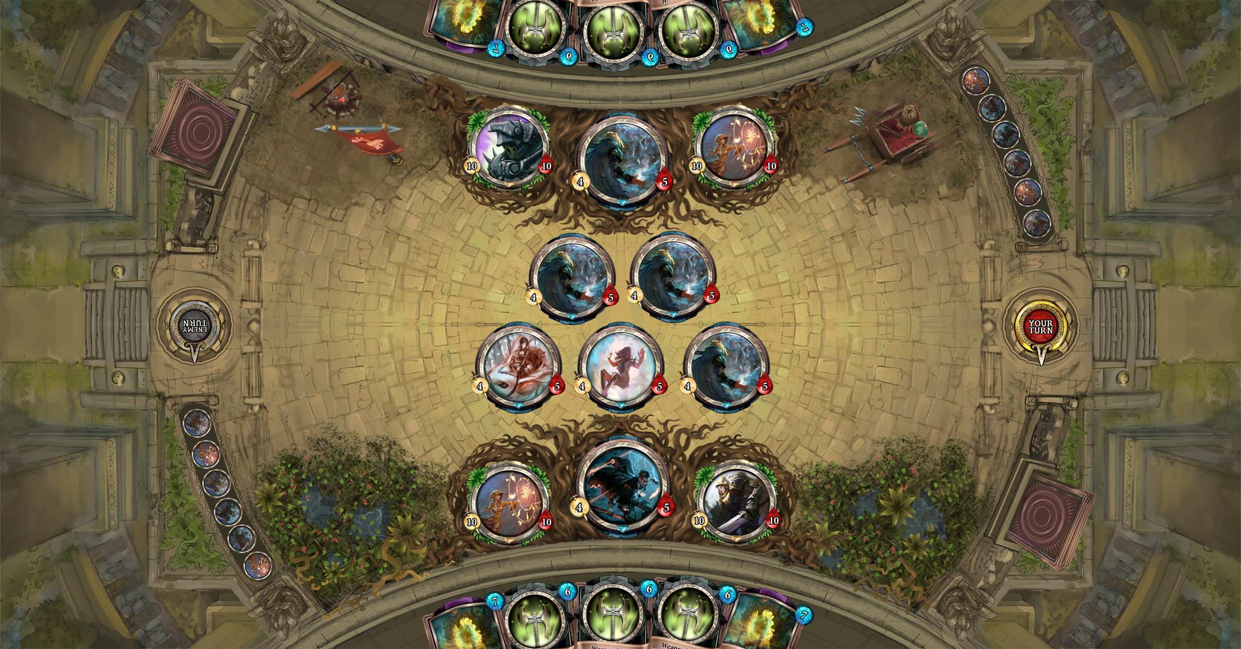 Temple Wars Game board design