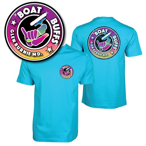 80's surf style logo for boat cleaning co.