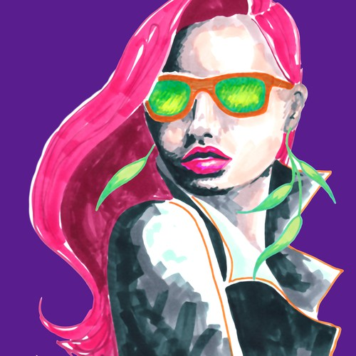 Create an edgy character illustration for makers of handcrafted bamboo eyewear