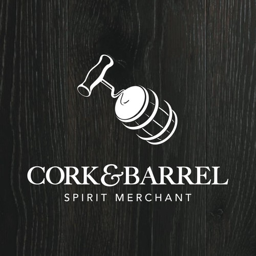 Create a brand package for an upscale liquor store The Cork & Barrel