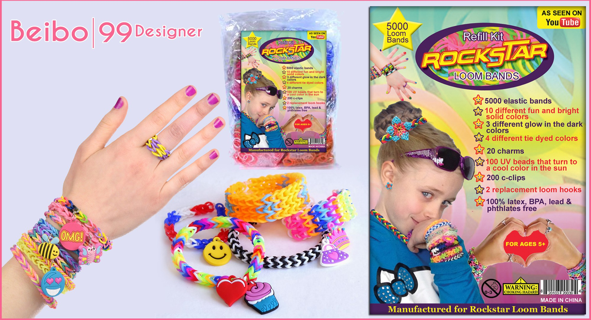 Create product label for Rockstar Loom Bands-Rubber band refill kit