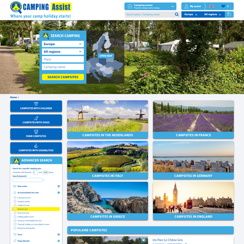 Website for a search platform to find and book an accommodation on a campsite.