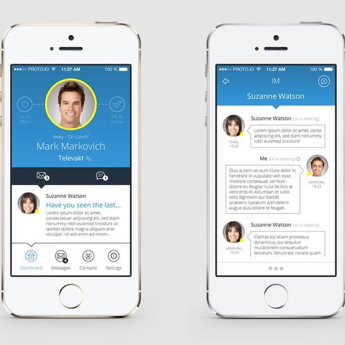 User interface (UI) design for business/messaging application