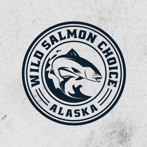 Circle badge logo concept for Wild Salmon Choice.