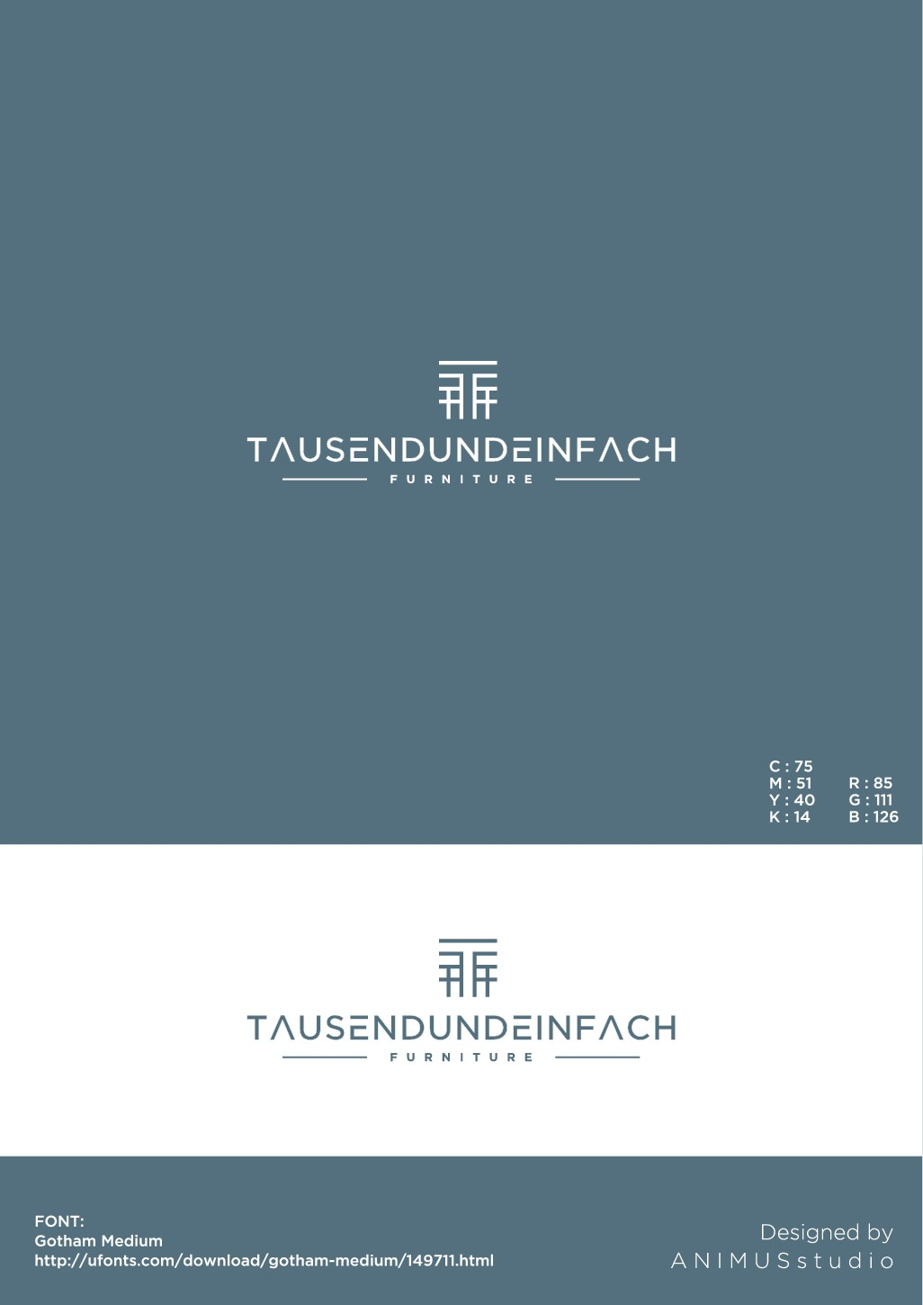 """logo for new company of modern furniture design """"tausendundeinfach"""""""