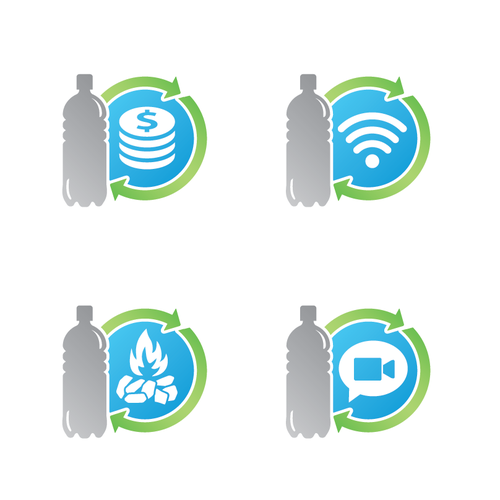 Symbols to exchange plastic bottles for items.