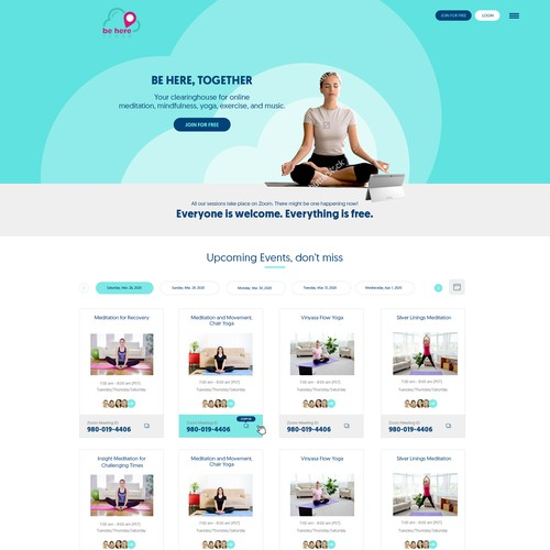 Online yoga training website