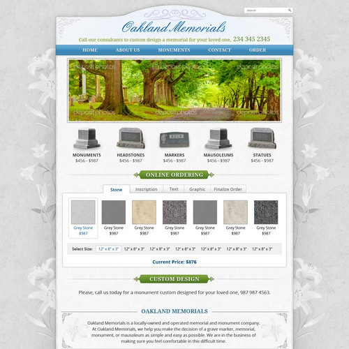 Create the next website design for Oakland Memorials, Inc.