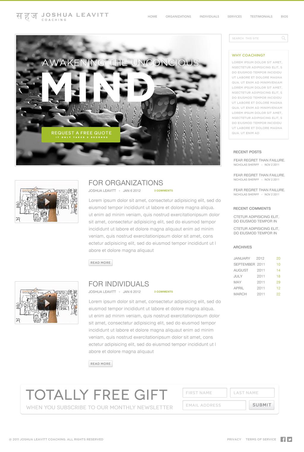 Joshua Leavitt Coaching needs a new website design