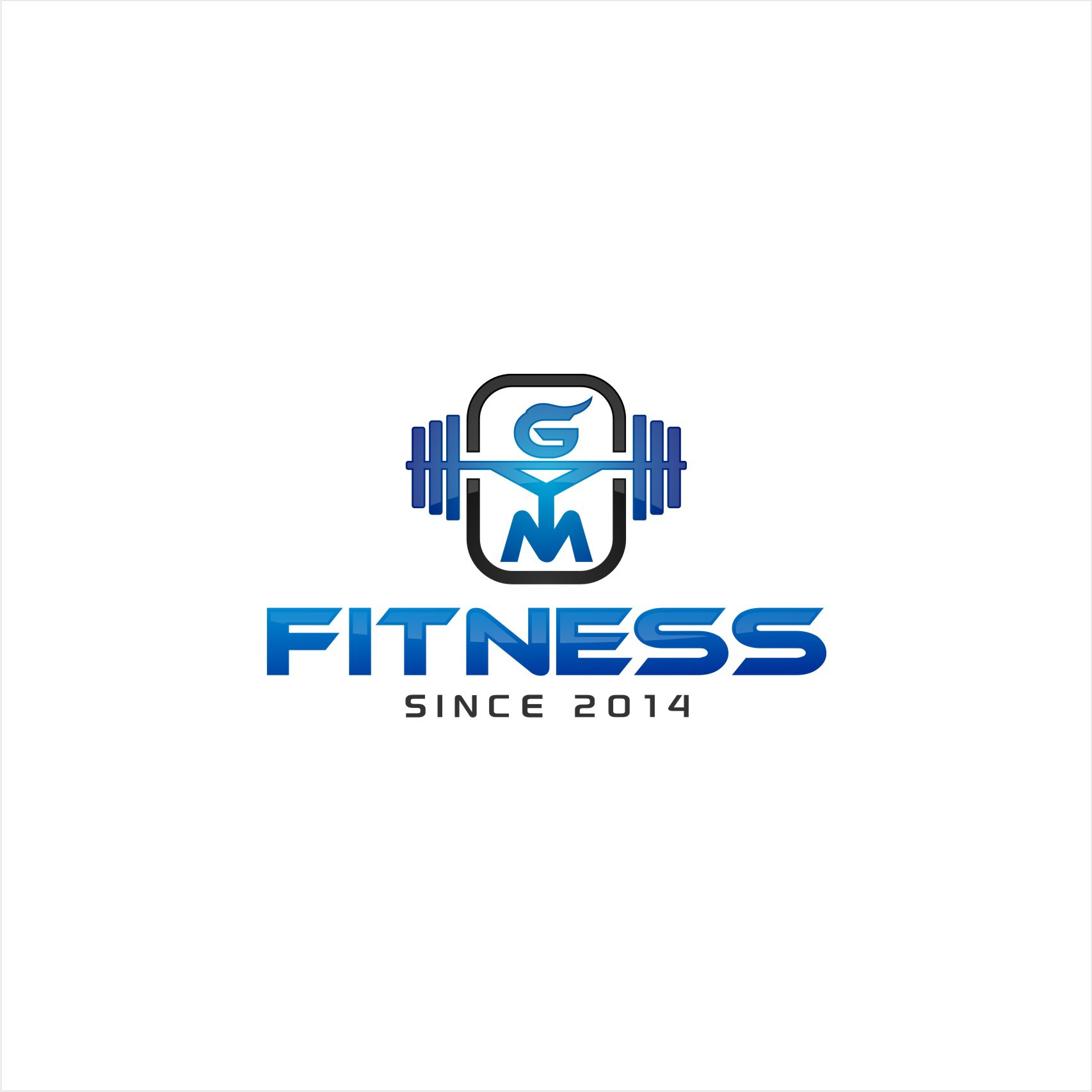 Create a modern logo for a FITNESS GYM (must include a bar and weights in it)