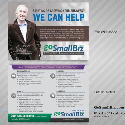 Create a double-sided mailing insert for marketing GoSmallBiz.com