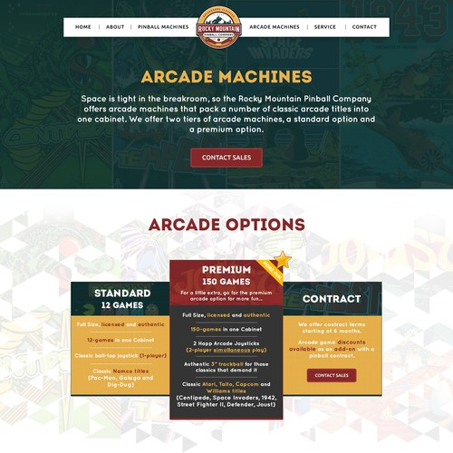 Website Design for a Pinball/Arcade Company in Denver