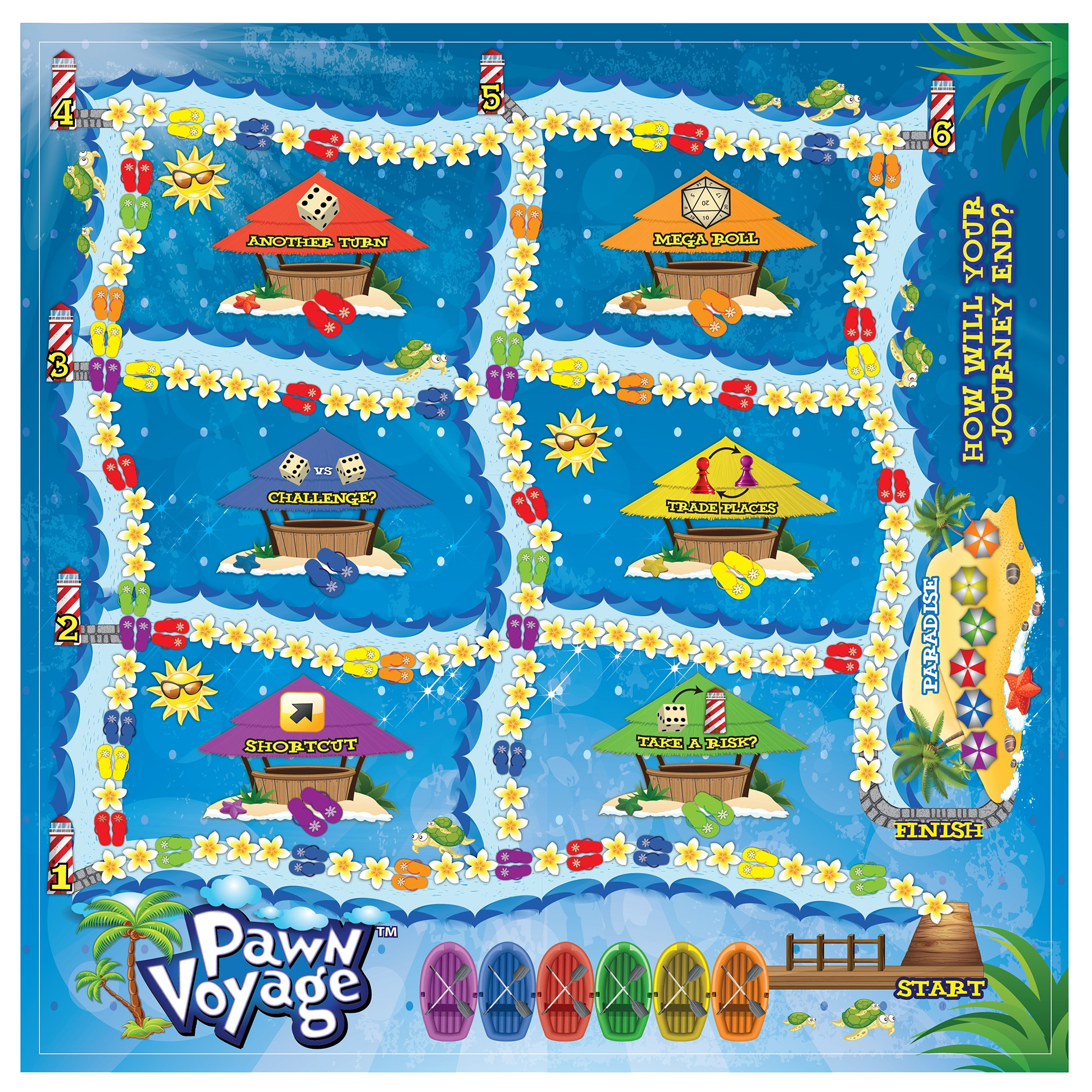 Revise the Board, Box and Instructions for a new and exciting Board Game called Pawn Voyage