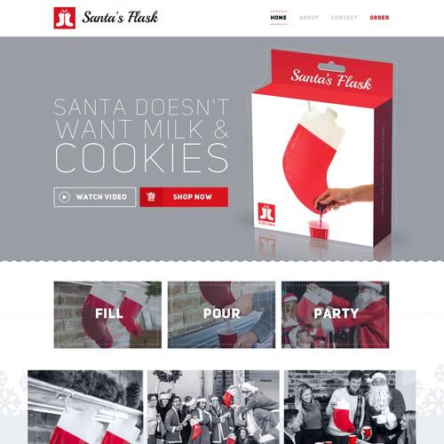 Impulse buy ecommerce lifestyle product website for Santa's Flasks