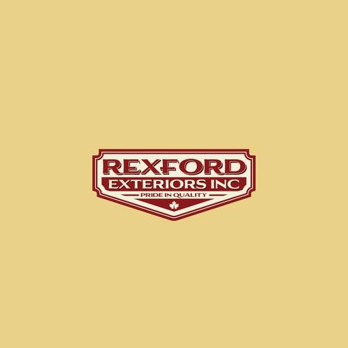Rexford Exteriors vintage logo design