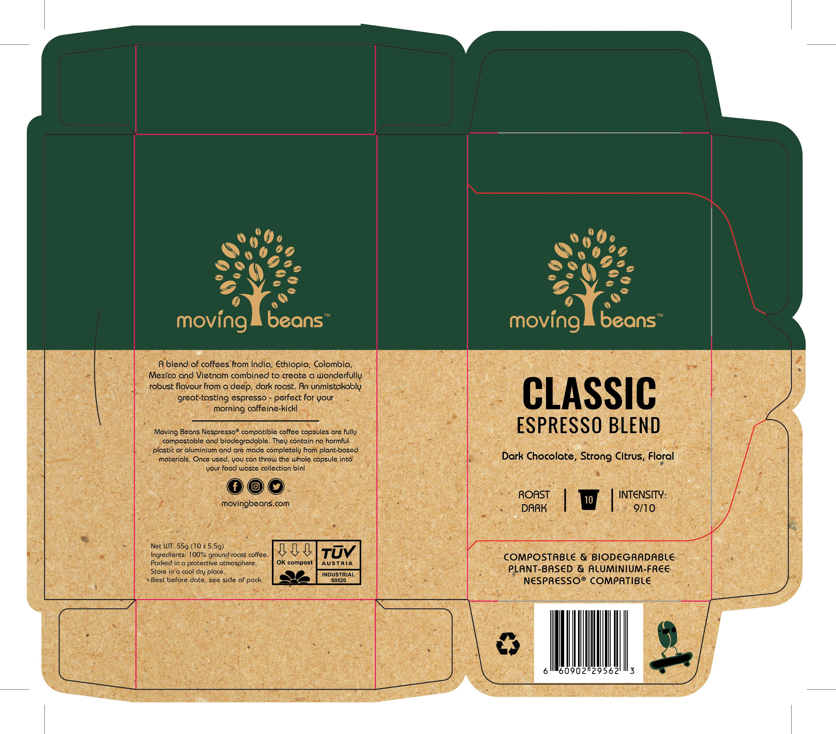 Packaging design for a sustainable, zero-waste coffee pod company