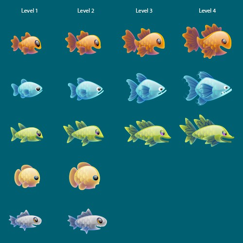 Great job for creative artists! Fishes for a mobile game