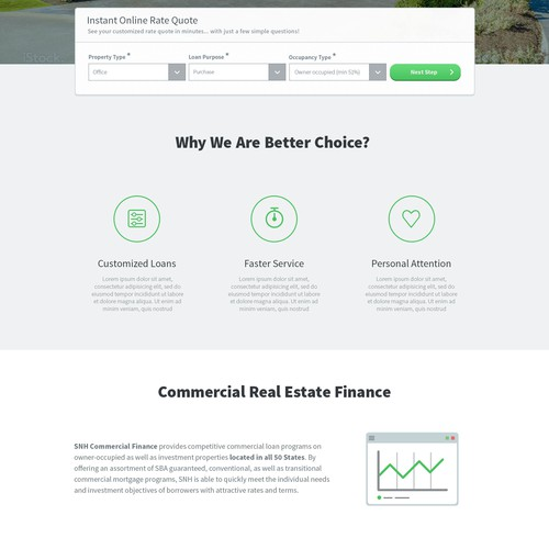 Creative new design for Commercial Financing Site