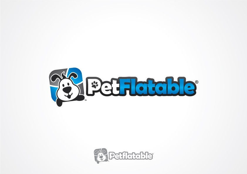 Create a playful pet brand logo for PetFlatable.