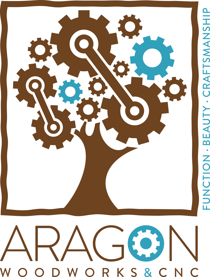 Imagine Natural and Tech elements to craft a logo for Aragon Woodworks