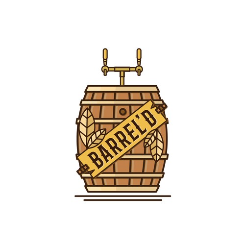 Simple Illustrated Combination Logo for Barrel'd