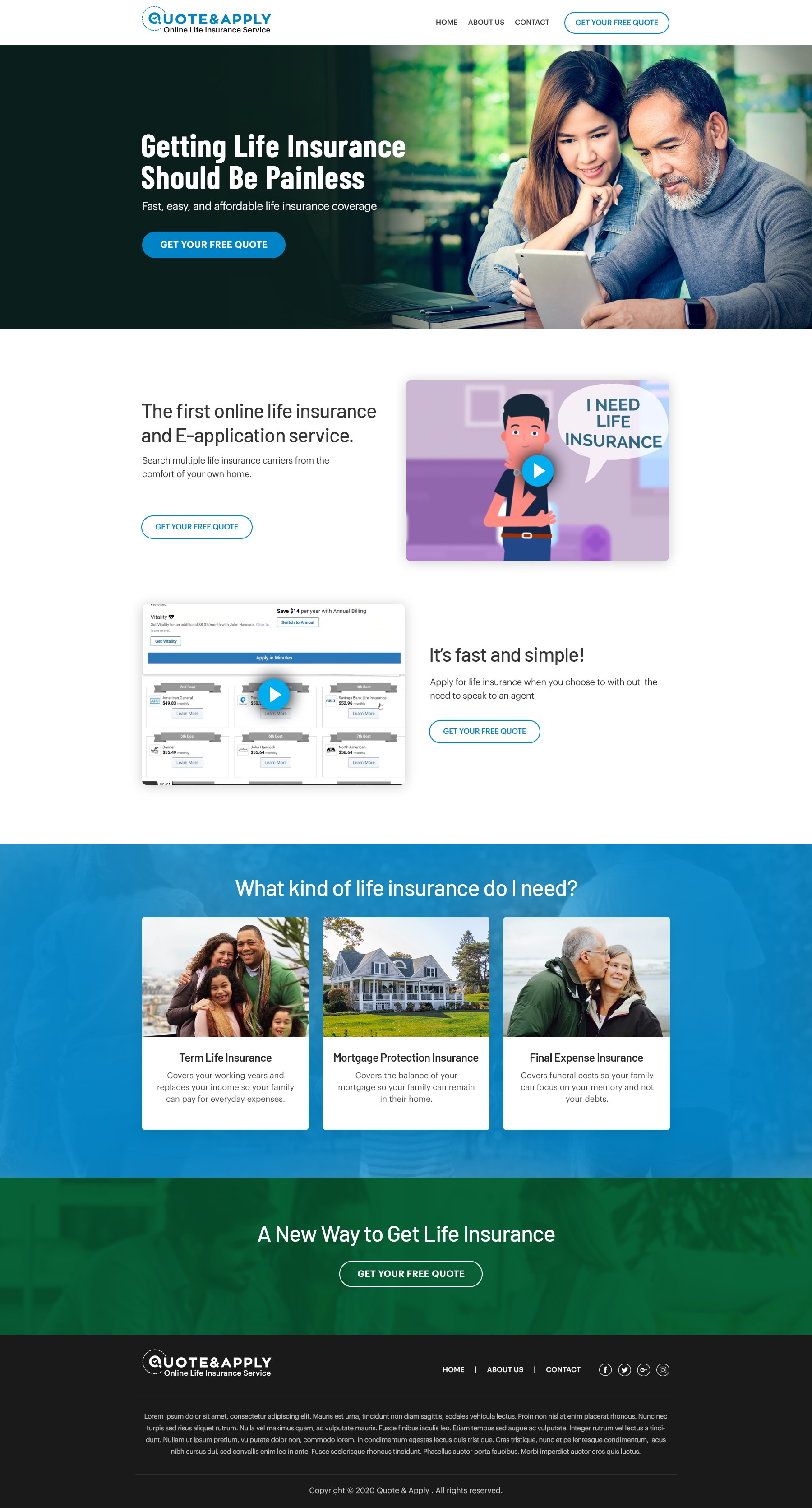 Mobile friendly landing page for life insurance