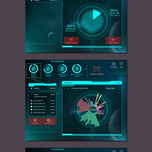 Sci-Fi UI for a Disk explorer