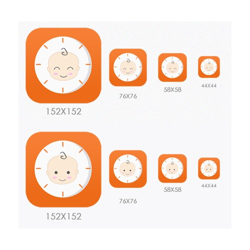 Design an outstanding and friendly App Icon for BabyTime (iOS7 style)