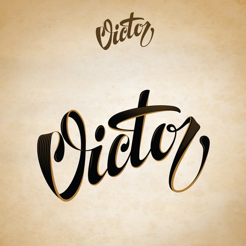 "Custom script for the word ""Victor"""