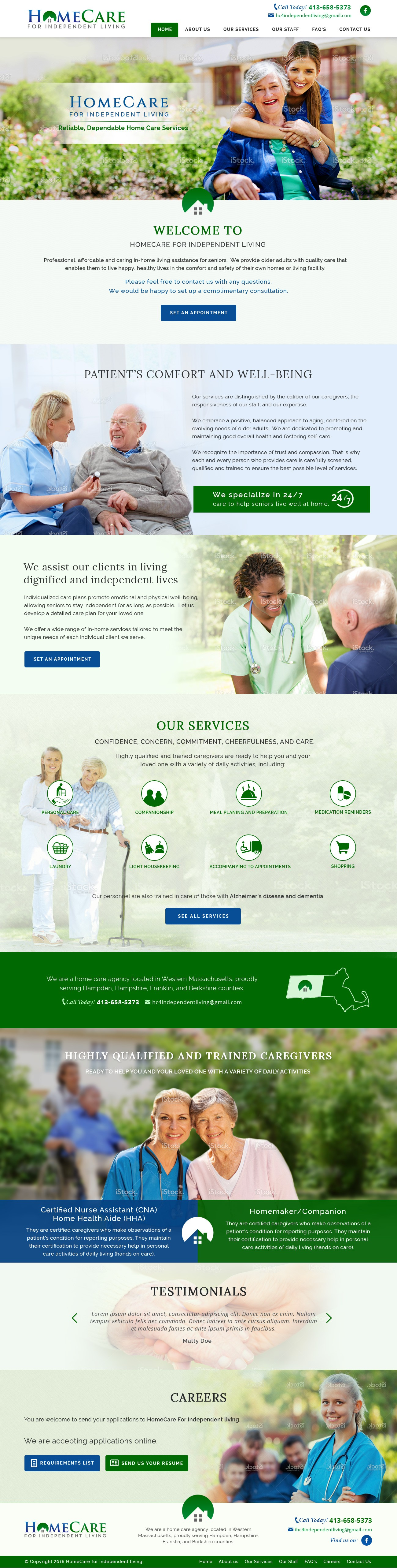 Create a welcoming and professional looking webpage for a home care agency