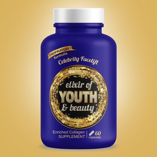 Label design for elixir of youth supplement