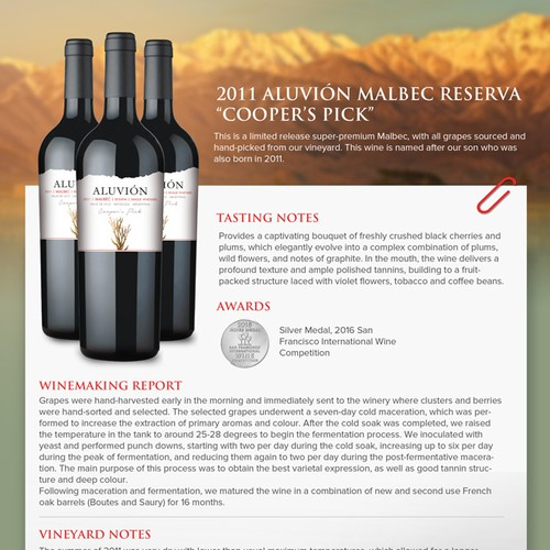 Simple and elegant flyer design for Aluvion Wine