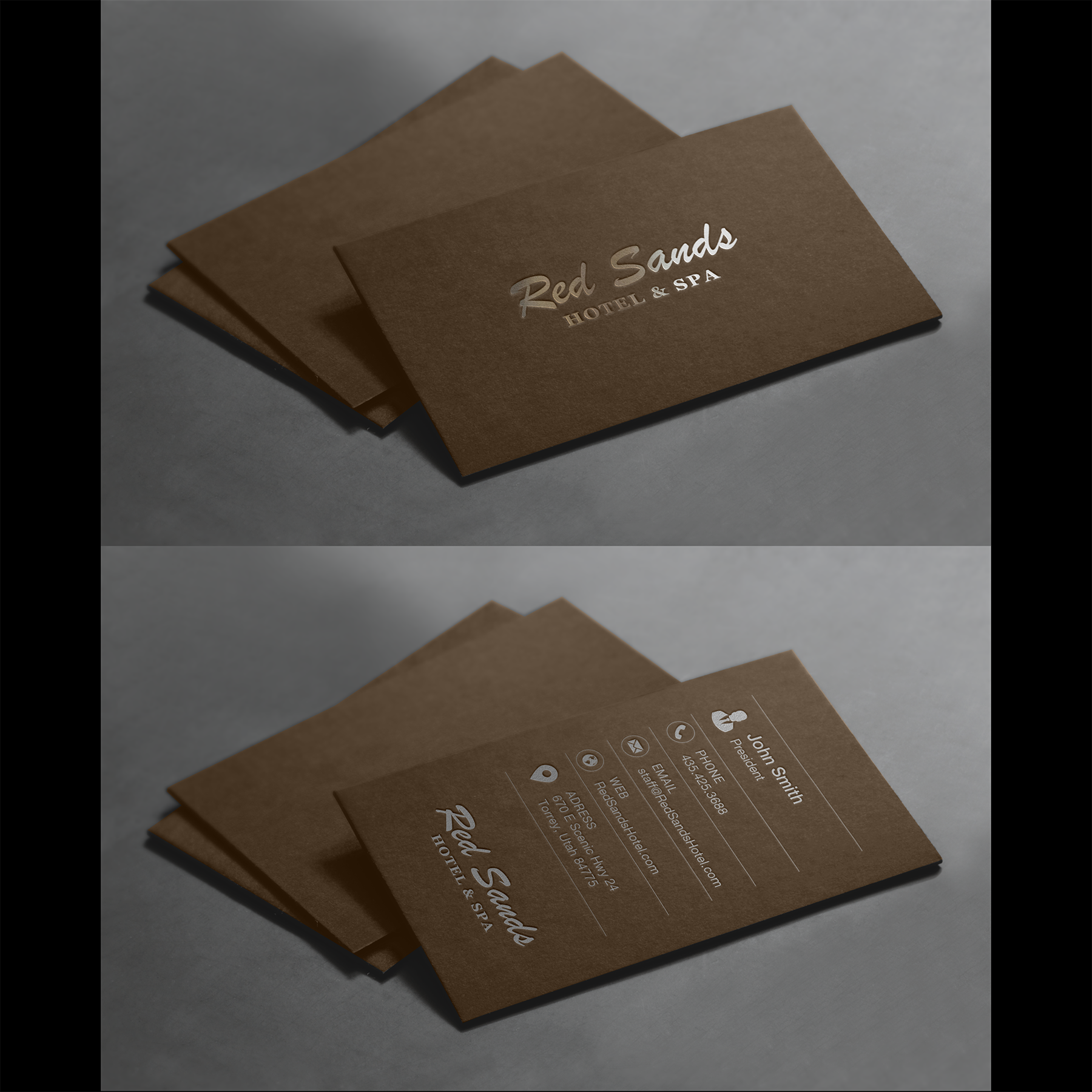 Boutique Hotel + Spa business & key card design