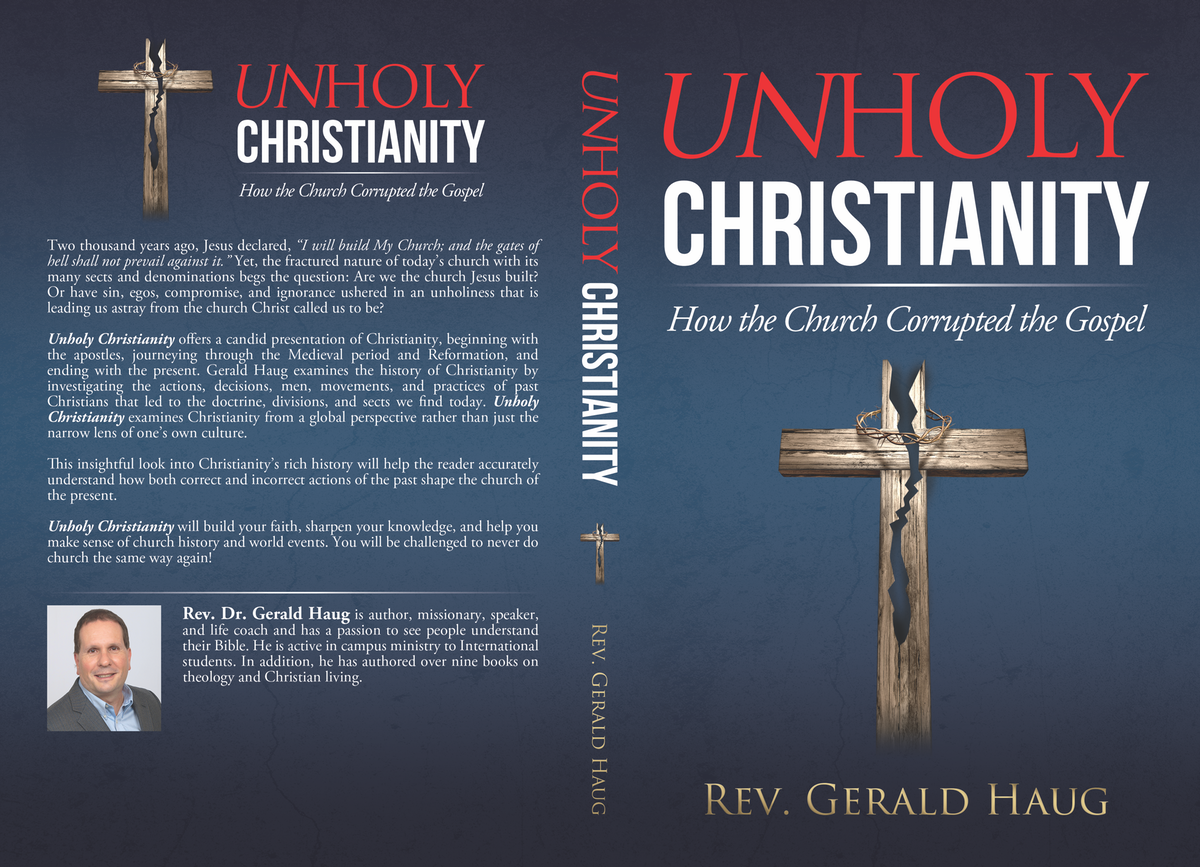 Design a Bookcover  that emphasizes Unholy Christianity to a Christian audience