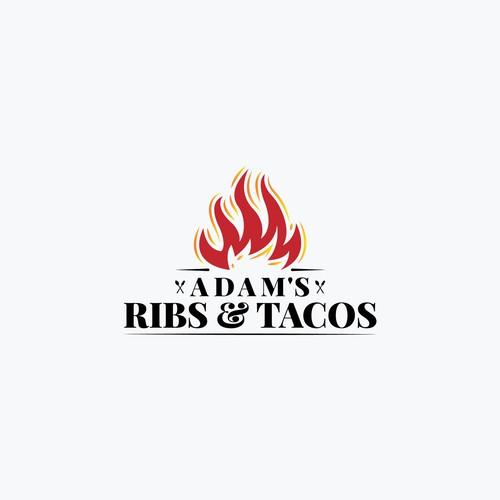 'Adam's Ribs & Tacos' Logo Design Concept