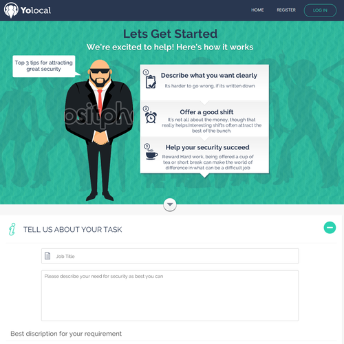 Security startup landing page