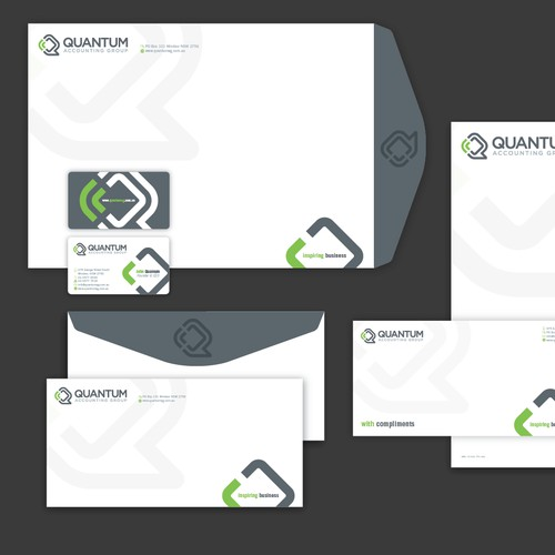 Create new stationery, bus cards and powerpoint templates for Quantum Accounting Group